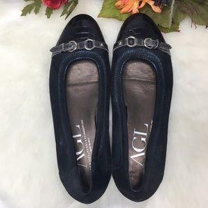 AGL Blue Metallic Embossed Leather Ballet Flat